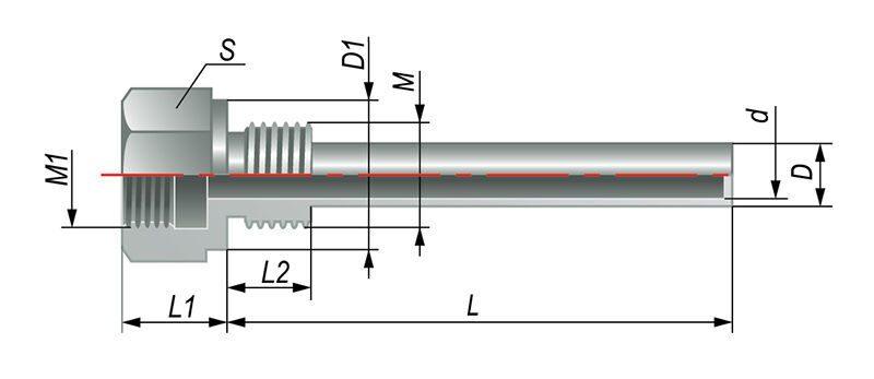 Гильза L60 резьба внутр.и наруж. М20х1,5